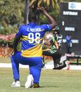 Jason Holder takes a knee before the start of the game, Guyana vs Barbados, Super50 Cup, Coolidge, February 8, 2021