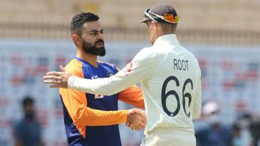Virat Kohli congratulates Joe Root for the win