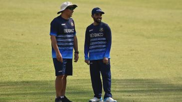 Russell Domingo and Mominul Haque find a reason to smile while training