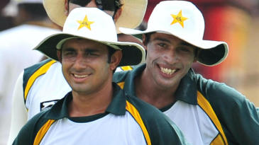 Saeed Ajmal, Mohammad Amir take part in a practice session before the first Test
