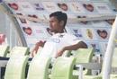 Mustafizur Rahman looks on from the sidelines, Bangladesh v West Indies, 2nd Test, Dhaka, 1st day, February 11, 2021