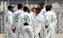 Bangladesh players congratulate Soumya Sarkar for a wicket, Bangladesh v West Indies, 2nd Test, Dhaka, 1st day, February 11, 2021