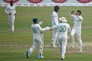 Abu Jayed and Bangladesh fielders celebrate Alzarri Joseph's dismissal, Bangladesh vs West Indies, 2nd Test, Dhaka, 2nd day, February 12, 2021