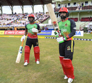 Evin Lewis (left) and Mohammad Hafeez walk out to bat, St Kitts and Nevis Patriots vs Trinbago Knight Riders, Caribbean Premier League, Guyana, October 6, 2019