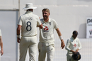 Olly Stone shares a laugh with his new-ball partner Stuart Broad, India vs England, 2nd Test, Chennai, 2nd day, February 14, 2021