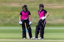 Hayley Jensen and Nat Dodd take a break between overs, New Zealand Women XI and England Women, first 50-over warm-up, Queenstown, February 14, 2021