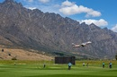 An aeroplane takes off in the backdrop as play gets underway at the John Davies Oval, New Zealand Women XI and England Women, first 50-over warm-up, Queenstown, February 14, 2021