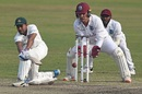 Mehidy Hasan Miraz shapes to play a fine sweep, Bangladesh v West Indies, 2nd Test, Dhaka, 4th day, February 14, 2021