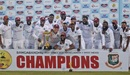 The West Indies players pose with the series trophy, Bangladesh vs West Indies, 2nd Test, Dhaka, 4th day, February 14, 2021