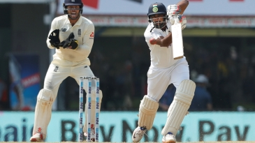 The full face of the bat is on show as R Ashwin sends one down the ground
