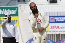 Moeen Ali celebrates one of his four second-innings strikes, India vs England, 2nd Test, Chennai, 3rd day, February 15, 2021