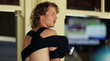 Will Pucovski suffered the injury while fielding on Test debut