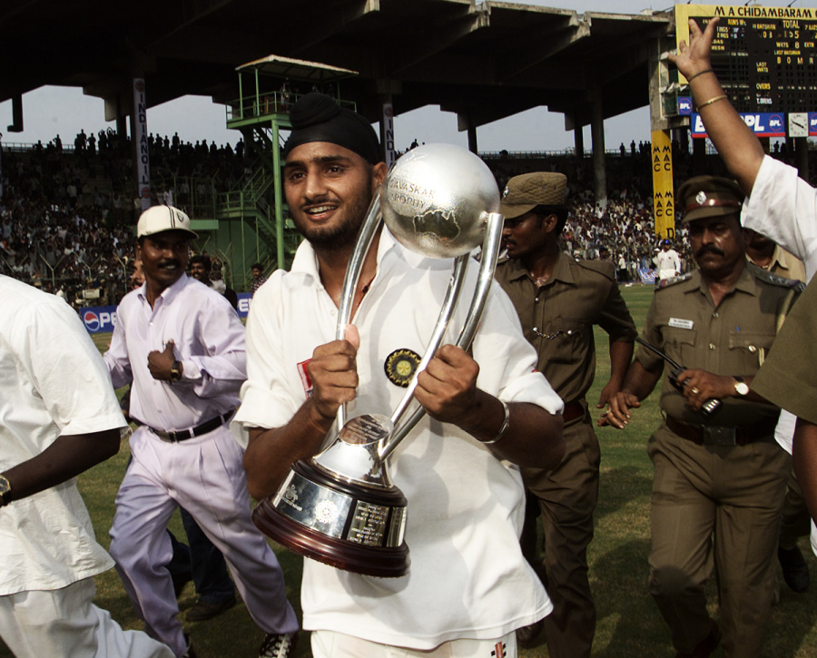 Singh takes a lap around the Chepauk with the Border-Gavaskar Trophy after India won the third Test by two wickets
