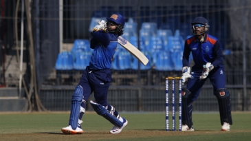 Ishan Kishan launches one on the leg side on his way to 173 off just 94 balls