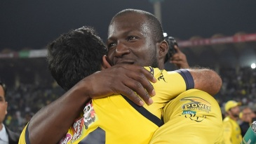 Peshawar Zalmi captain Darren Sammy celebrates with Wahab Riaz after their victory over Quetta Gladiators in the PSL 2017 final