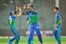 Shahid Afridi, Carlos Brathwaite and Mohammad Umar celebrate a wicket, Islamabad United vs Multan Sultans, PSL 2021, Karachi, February 21, 2021