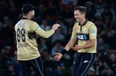 Devon Conway and Trent Boult celebrate a wicket, New Zealand vs Australia, 1st T20I, Christchurch, February 22, 2021