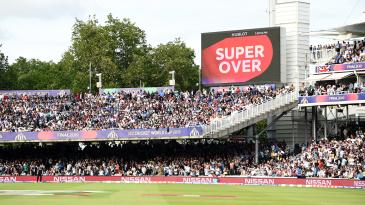 The scoreboard announces a Super Over