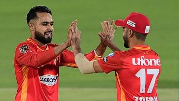 Islamabad United's Faheem Ashraf celebrates a wicket