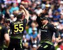 Kane Richardson and Aaron Finch celebrate, New Zealand vs Australia, 2nd T20I, Dunedin, 25 February, 2021