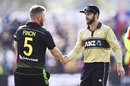 Aaron Finch and Kane Williamson shake hands after the match, New Zealand vs Australia, 2nd T20I, Dunedin, February 25, 2021