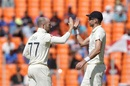 Jack Leach celebrates Ajinkya Rahane's wicket with James Anderson, India vs England, 3rd Test, Ahmedabad, Day 2, February 25, 2021