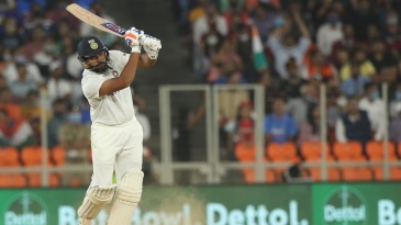 Rohit Sharma hammers one down the ground