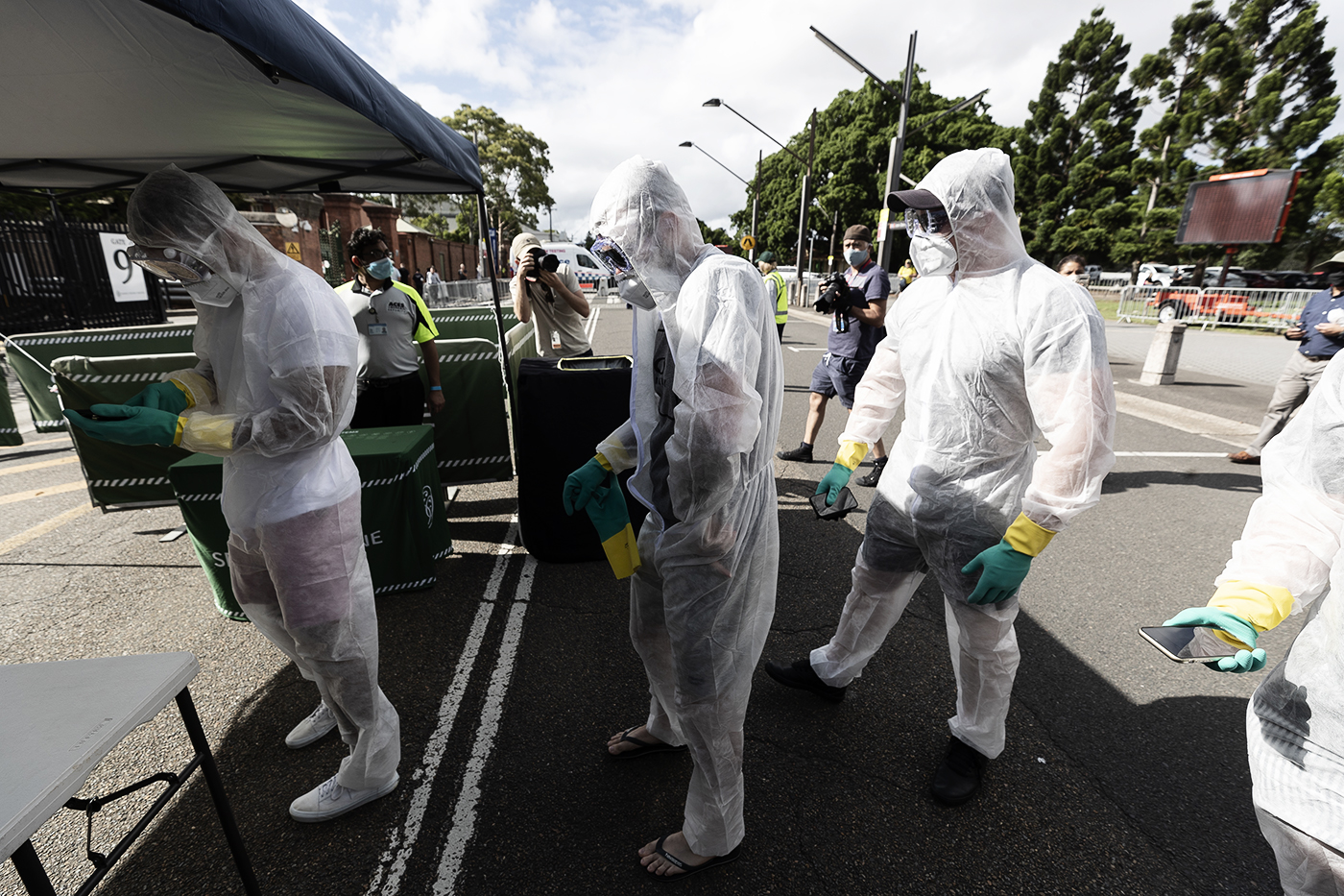 Spectators mix entertainment with safety when arriving for the SCG Test between India and Australia