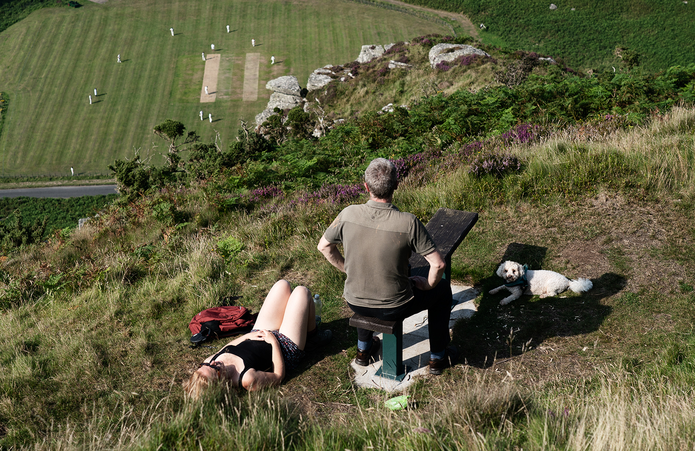 A dog and its humans enjoy a match in North Devon's Valley of Rocks