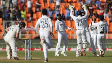 India celebrate the wicket of Jonny Bairstow