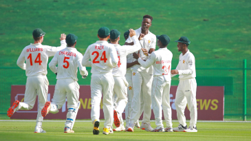 Blessing Muzarabani became the first Zimbabwe bowler to strike with the first ball of a Test, bowling debutant Abdul Malik