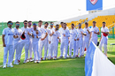 Asghar Afghan leads his Afghanistan squad out for the anthems, Afghanistan vs Zimbabwe, 1st Test, Abu Dhabi, 1st day, March 2, 2021