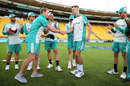 Riley Meredith was handed his cap by George Bailey, New Zealand vs Australia, 3rd T20I, Wellington, March 3, 2021