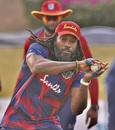 Chris Gayle takes part in a fielding drill, Antigua, March 2, 2021