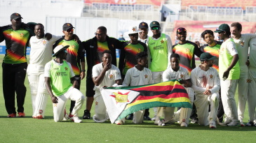 The victorious Zimbabwe team after winning the Test in two days