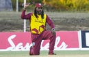 Chris Gayle takes a knee as a gesture of support to the Black Lives Matter movement, West Indies vs Sri Lanka, 2nd T20I, Coolidge, March 5, 2021