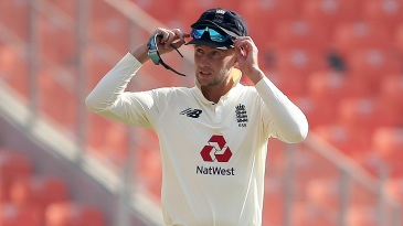 Joe Root on the field during the third day's play