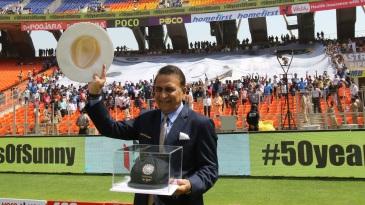 Sunil Gavaskar celebrating the 50th anniversary of his Test debut