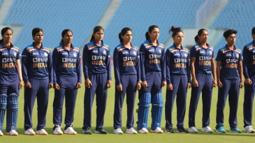 India Women line up for the national anthem for their game since the start of the pandemic