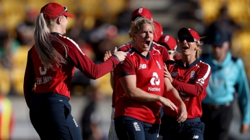 Katherine Brunt is pumped up after claiming a wicket