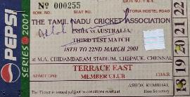 An India-Australia Chennai 2001 Test ticket