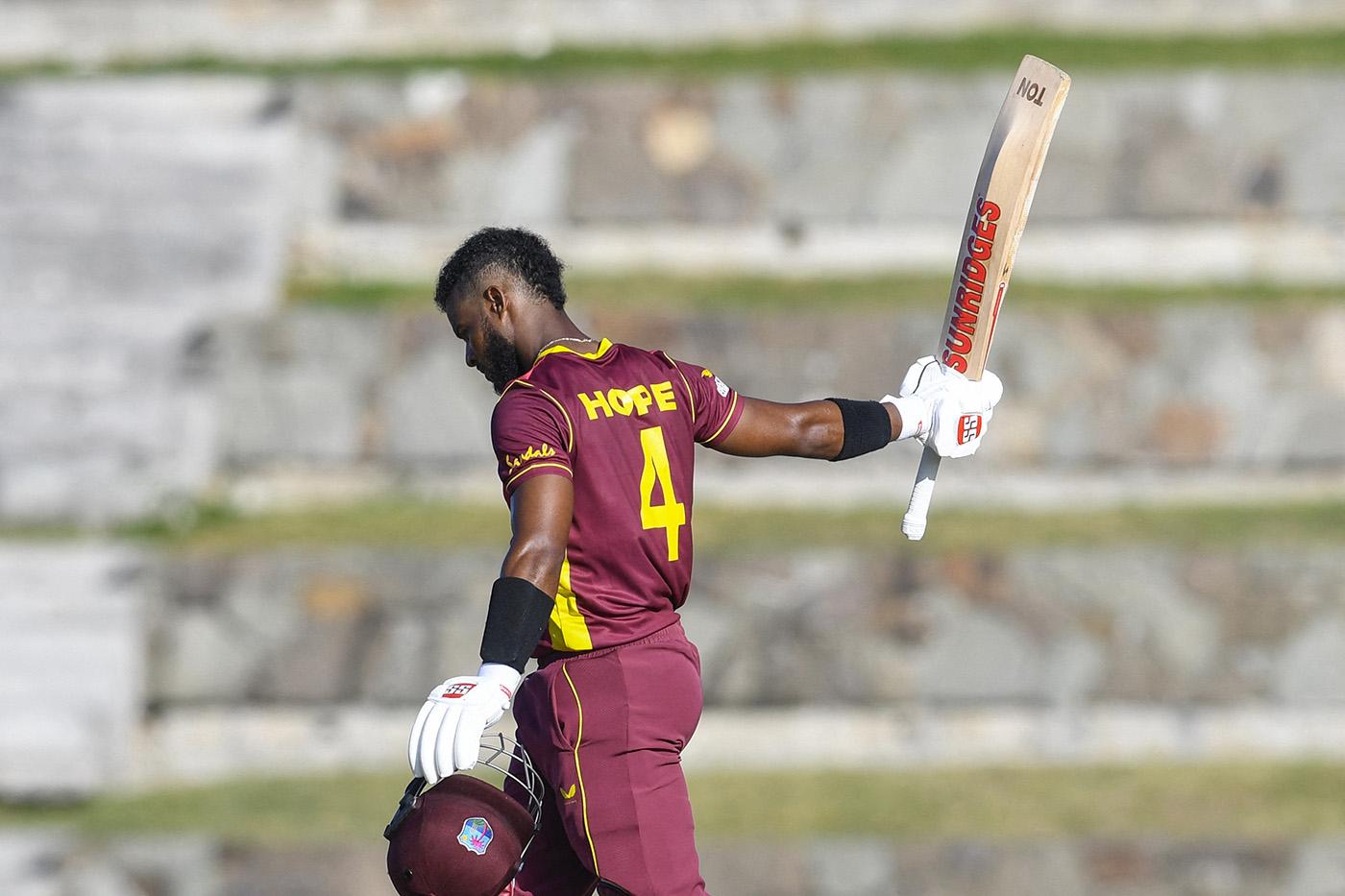 Shai Hope of West Indies celebrates his century during the 1st ODI against Sri Lanka | Photo | Global | ESPNcricinfo.com