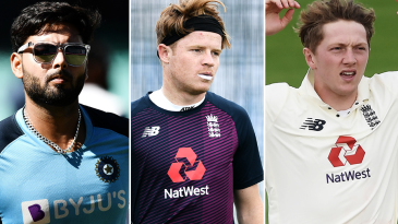 Composite: Rishabh Pant, Ollie Pope and Dom Bess
