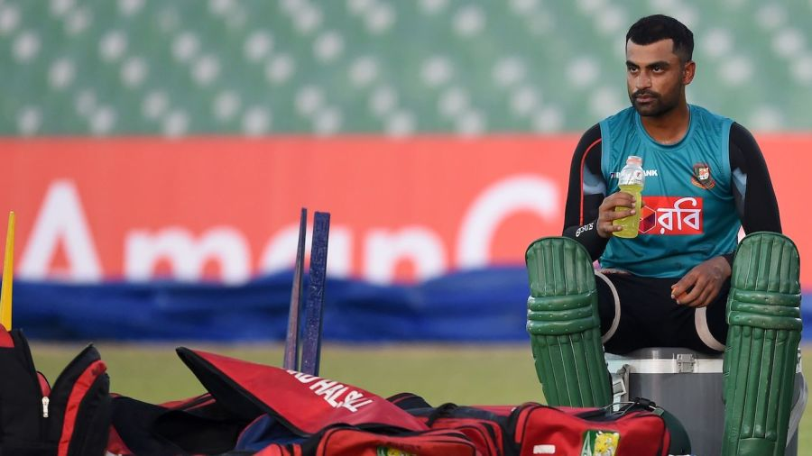 Tamim Iqbal looks on during a practice session