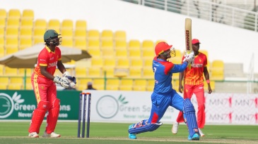Mohammad Nabi goes down the ground