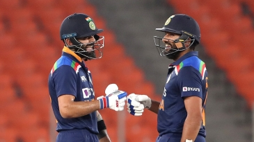 Virat Kohli and Rohit Sharma share a laugh during a blazing opening stand