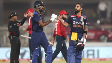 Virat Kohli and Hardik Pandya steered India to their highest T20I total against England
