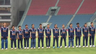 The India players line-up for the national anthem