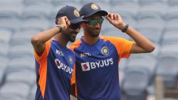 Krunal Pandya and Prasidh Krishna pose with their caps on ODI debut