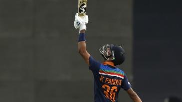 Krunal Pandya thanks the heavens after reaching a half-century on debut